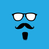 Man with old style mustache, beard & sunglasses vector Stock Photography
