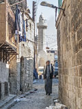 Man in old town street of aleppo syria Royalty Free Stock Photography