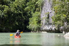 Man On A Canoe Stock Photo