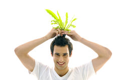 Man On Holding A Small Plant Stock Images