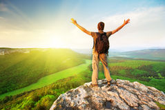 Free Man On Top Of Mountain Royalty Free Stock Image - 20804316