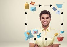 Man with online shopping technology icons graphics drawings Royalty Free Stock Image