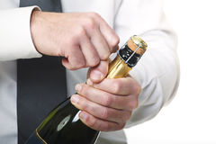 Man open champagne bottle Stock Photography