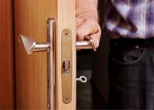 Man open the door. Stock Photo