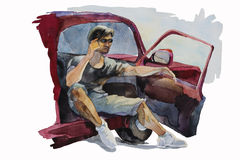 Man open the door of his car to talk mobile phone. Original watercolor illustration man open the door of his car to talk mobile phone distance conversation Stock Photo