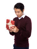 Man open with gift box Stock Images