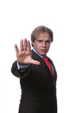 Man with open hand isolated. On white background stock photos
