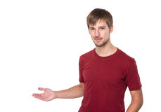 Man with open hand palm Royalty Free Stock Image