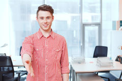Man with open hand ready to seal deal Stock Photography