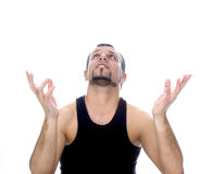 Man with  open hands Stock Photos