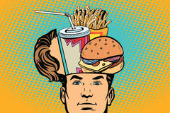 Man with an open head fast food. Comic cartoon style pop art retro color vector illustration Royalty Free Stock Photos