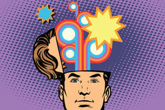 Man with an open head festival fireworks carnival celebration. Comic cartoon style pop art retro color vector illustration Royalty Free Stock Photos