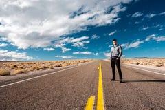 Man at open highway Stock Photos