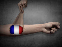 Man open his skin and show france flag inside Royalty Free Stock Photography