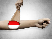 Man open his skin and show Indonesian flag inside Royalty Free Stock Photos