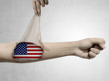 Man open his skin and show USA flag inside Stock Images