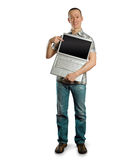 Man with open laptop in his hands Royalty Free Stock Photo