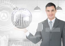 Man with open palm hand holding globe of world earth globe with interface Stock Photography