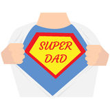 Man open shirt. Super dad hero. Super father concept. typographic design - vector illustration stock illustration
