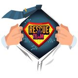 Man open shirt to show `rescue team` typographic design in comic style - vector stock illustration