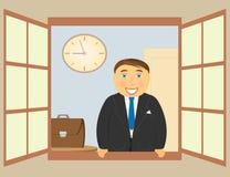 Man in open window. Smiling cheerful man standing in open window vector illustration