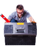 Man opened the box with tools Royalty Free Stock Images