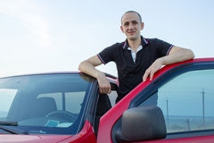 Man opened the car door Royalty Free Stock Image