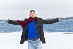 Man opened his arms to the sides Royalty Free Stock Photo