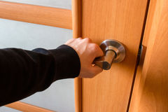 Man opened the wooden door background Stock Images
