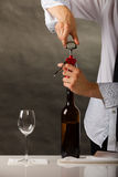 Man opening bottle of wine with corkscrew Royalty Free Stock Photography