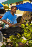 Man opening Coconuts. With a Machete Castries Central Market, Castries, Saint Lucia Royalty Free Stock Images