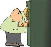 Man opening a safe royalty free illustration