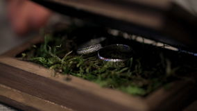 A man opens a casket in which two rings with precious stones lie. stock video footage