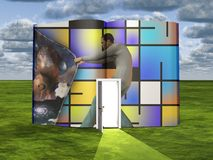 Man opens curtain to another dimension. Surrealism. Book with opened door and man opens curtain to another dimension. Mondrian style. Human elements were created royalty free illustration