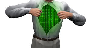 Man opens shirt to reveal binary. Streams Royalty Free Stock Photos