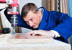 Man operating automatic screwdriver in wood workshop Stock Photography