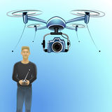 Man operating drone Stock Photography