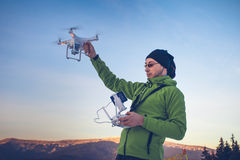 Man operating a drone Royalty Free Stock Photos