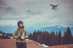 Man operating a drone Royalty Free Stock Photo