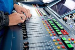 Man operating sound levels Stock Photo