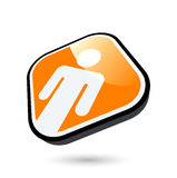 Man on orange button Royalty Free Stock Photography