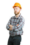 Man in an orange construction helmet royalty free stock images