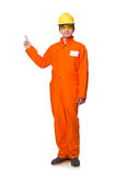 The man in orange coveralls isolated on white. Man in orange coveralls isolated on white Royalty Free Stock Photo