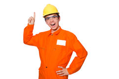 The man in orange coveralls isolated on white. Man in orange coveralls isolated on white Royalty Free Stock Images