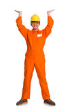 The man in orange coveralls isolated on white Royalty Free Stock Image