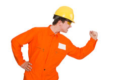 The man in orange coveralls isolated on white Royalty Free Stock Photos