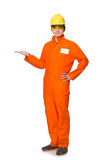 The man in orange coveralls isolated on white Stock Photos