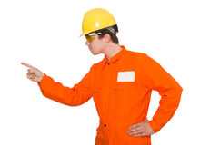 The man in orange coveralls isolated on white. Man in orange coveralls isolated on white Stock Photo