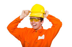The man in orange coveralls  on white Stock Image