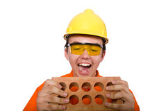 The man in orange coveralls on white Royalty Free Stock Images